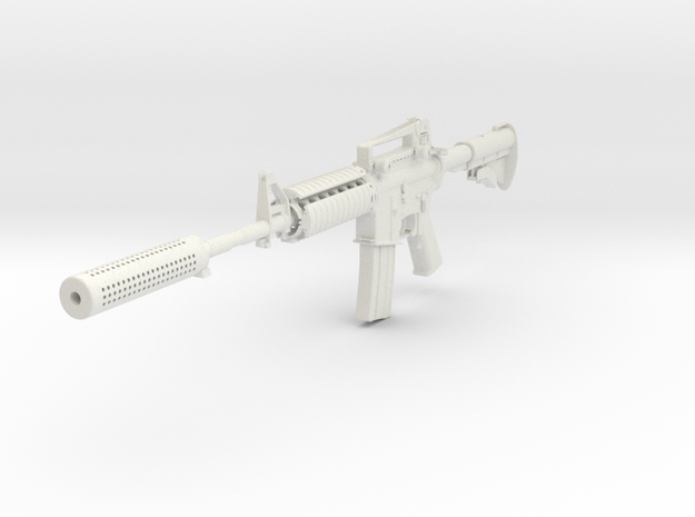 1/3rd Scale M4A1  With Suppressed  in White Natural Versatile Plastic