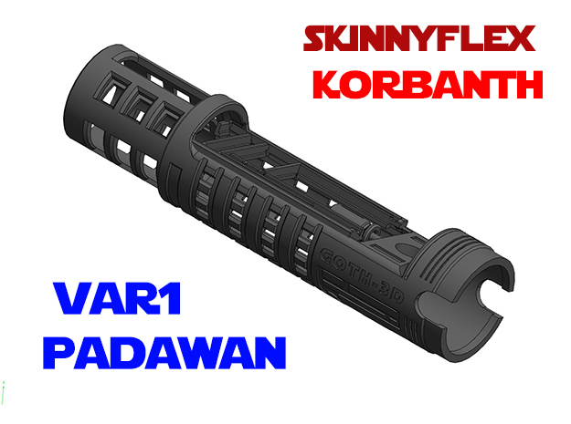 Korbanth SkinnyFlex - Padawan Chassis Var1 in White Natural Versatile Plastic
