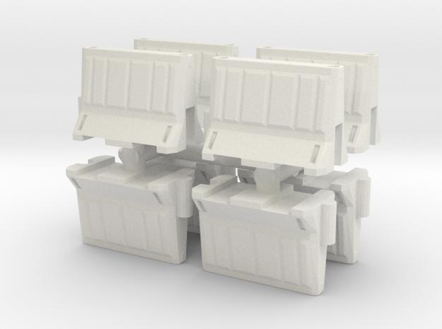 Interlocking traffic barrier (x8) 1/43 in White Natural Versatile Plastic