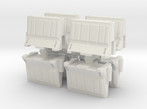 Interlocking traffic barrier (x8) 1/35 in White Natural Versatile Plastic