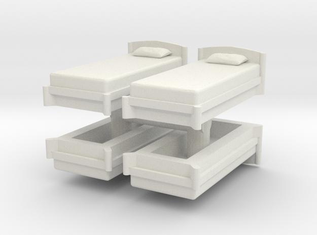 Single Bed (x4) 1/76 in White Natural Versatile Plastic