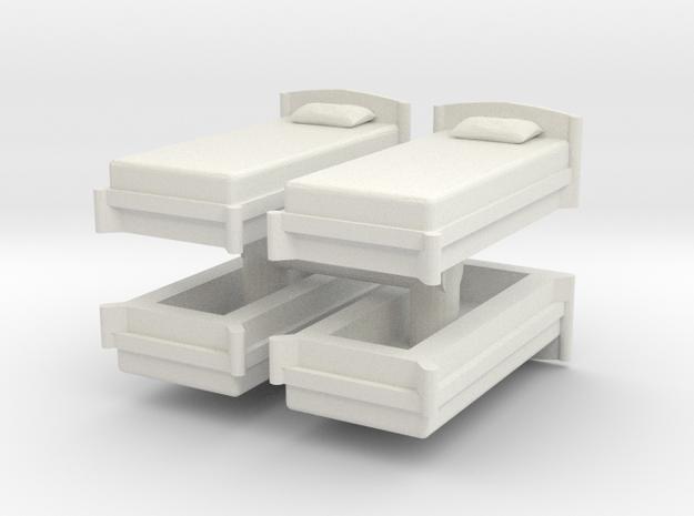 Single Bed (x4) 1/56 in White Natural Versatile Plastic