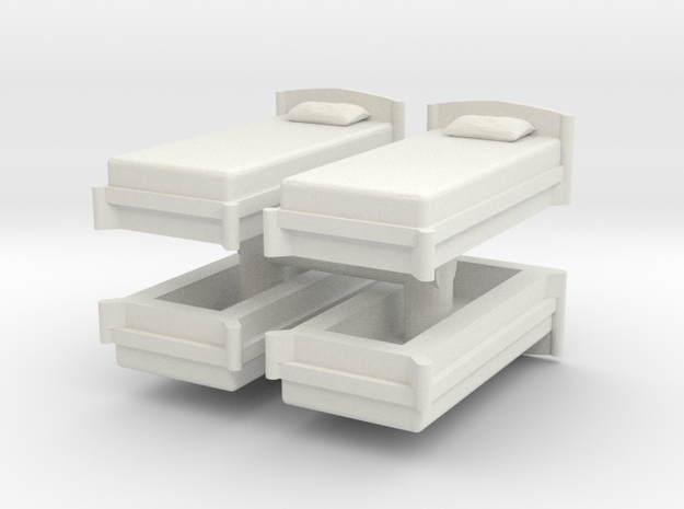 Single Bed (x4) 1/35 in White Natural Versatile Plastic