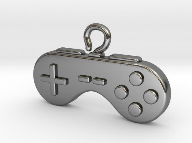 Retro Pendant for a nostalgic Gamer in Polished Silver