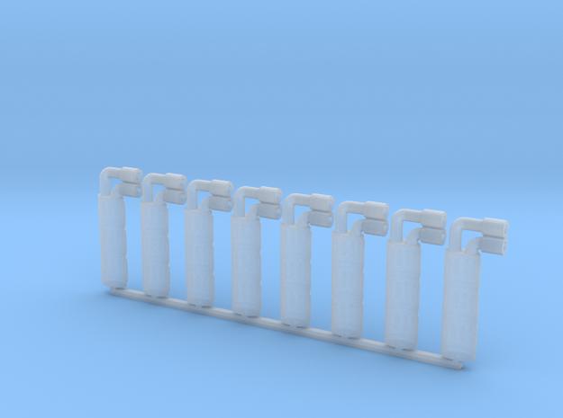 Set of 8 - HotWheels CRX replacement Muffler Exhau in Smooth Fine Detail Plastic