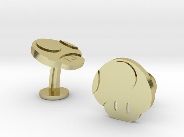 Super Mario Mushroom Cufflinks in 18k Gold Plated Brass