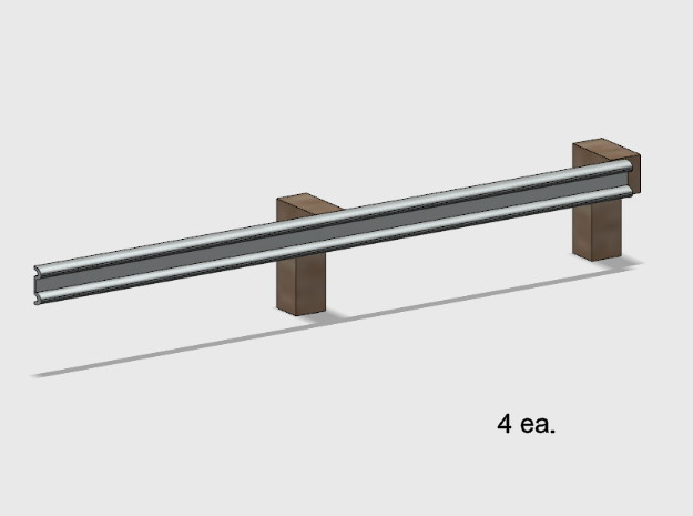 Guardrail - 2-Bay Right in White Natural Versatile Plastic: 1:87 - HO