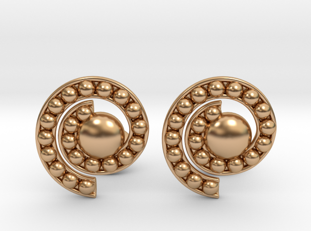 Nature Spiral Cufflinks in Polished Bronze
