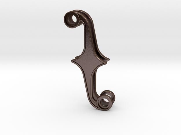F-key keychain, Small in Polished Bronze Steel