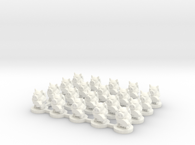 6mm - Pigmen with Plasma Rifles x 20 in White Processed Versatile Plastic