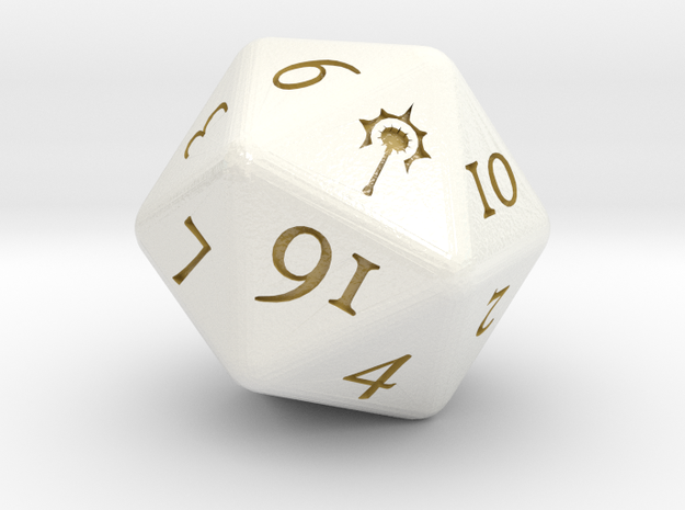 D20 D&D Cleric's Dice in Glossy Full Color Sandstone