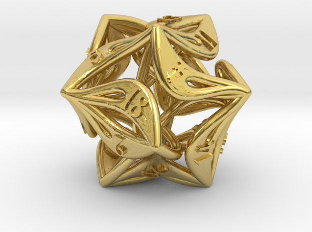 Big Curlicue D20 Dice in Polished Brass