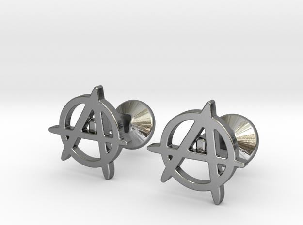 Anarchy Cufflinks in Polished Silver