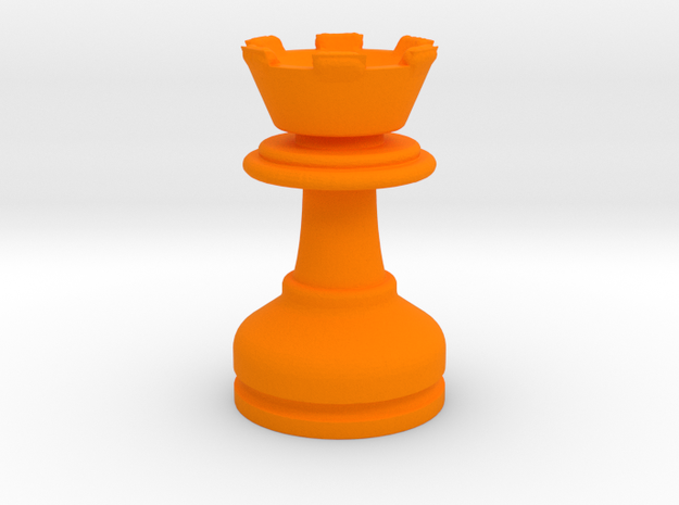 MILOSAURUS Chess MINI Staunton Rook in Orange Processed Versatile Plastic
