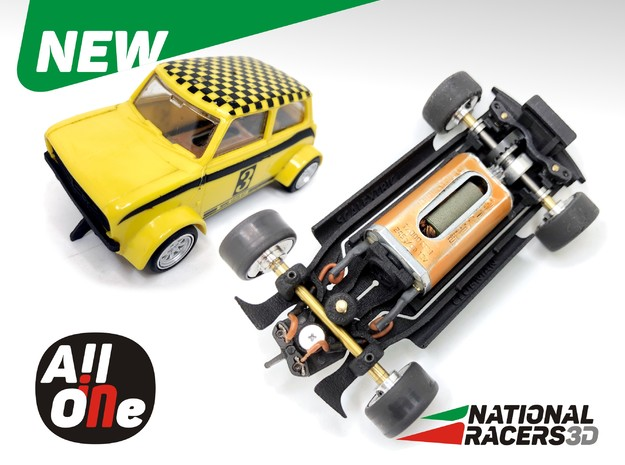3D Chassis - SCALEXTRIC MlNl CLUBMAN (Inline-AiO) in Black Natural Versatile Plastic