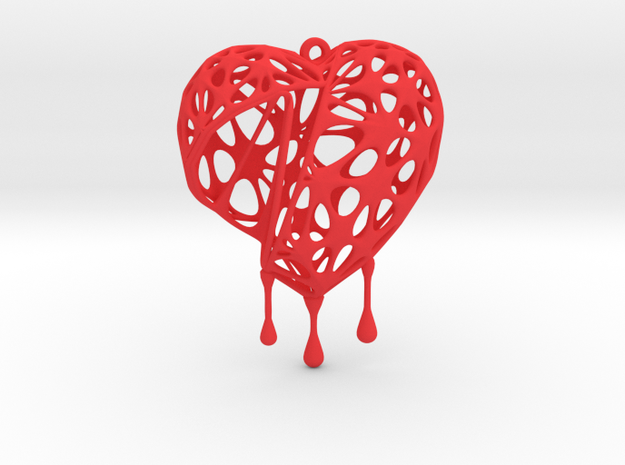 Open Heart Earring (Large001) in Red Processed Versatile Plastic
