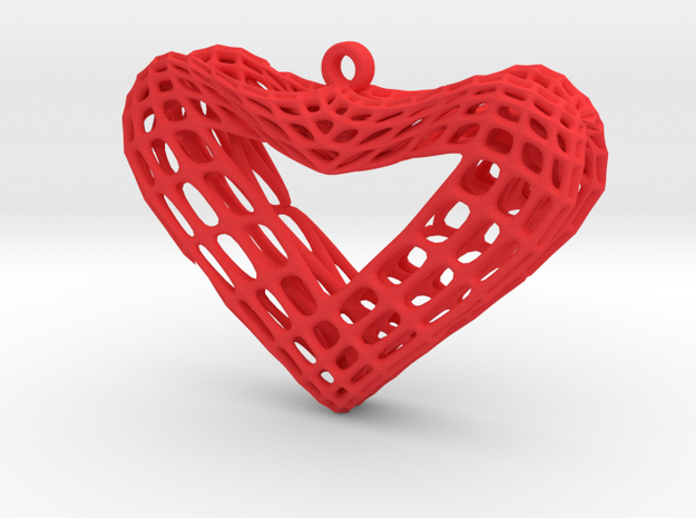 Sine Surface Heart Earring (001) in Red Processed Versatile Plastic
