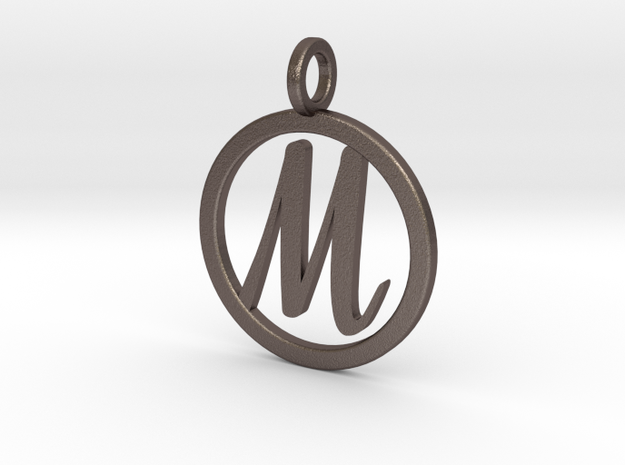 "Necklace Letter ""M"" in Polished Bronzed-Silver Steel"
