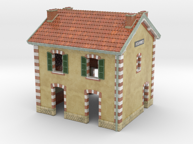 C-NgPLM2-01 - Small French train station in Glossy Full Color Sandstone