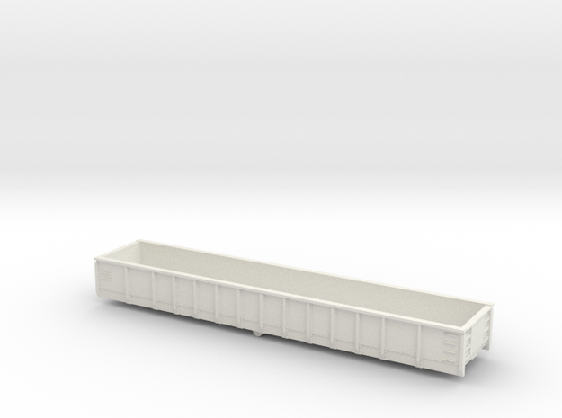 52' Mill Gondola  TT Scale in White Natural Versatile Plastic