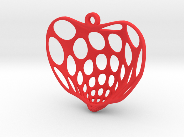 Cornucopia Surface Heart Earring (001) in Red Processed Versatile Plastic
