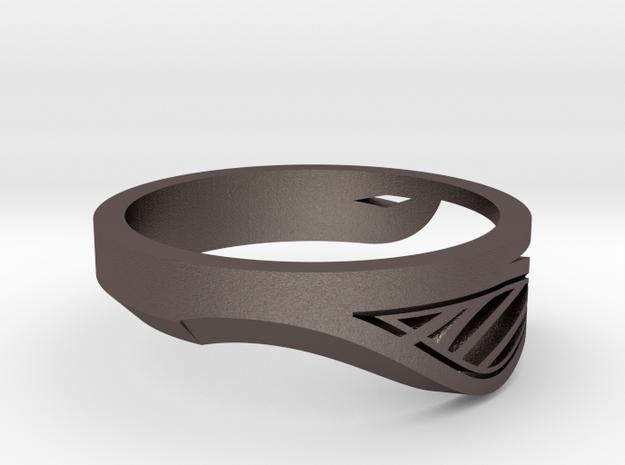 Modern Single Leaf Ring in Polished Bronzed-Silver Steel