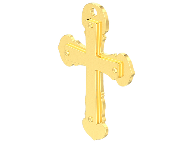 Double cross pendant in Fine Detail Polished Silver