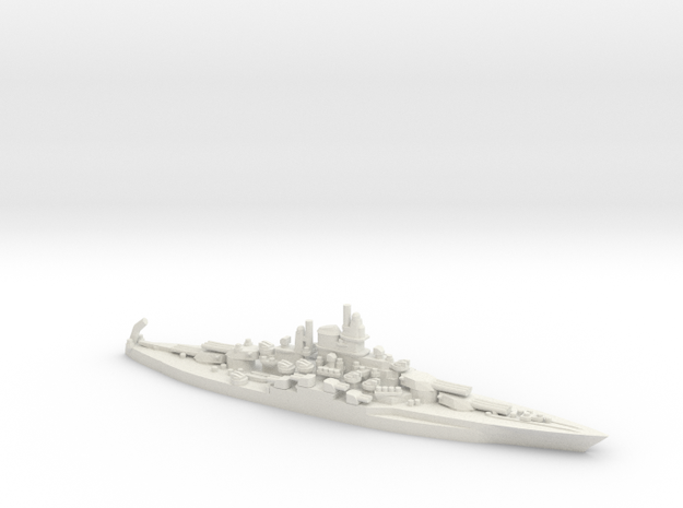 US Tennessee-Class Battleship in White Natural Versatile Plastic