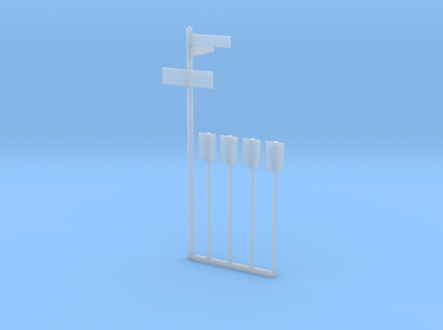 NYC Bus Stop Sign 4x and Pole in O scale in Smooth Fine Detail Plastic