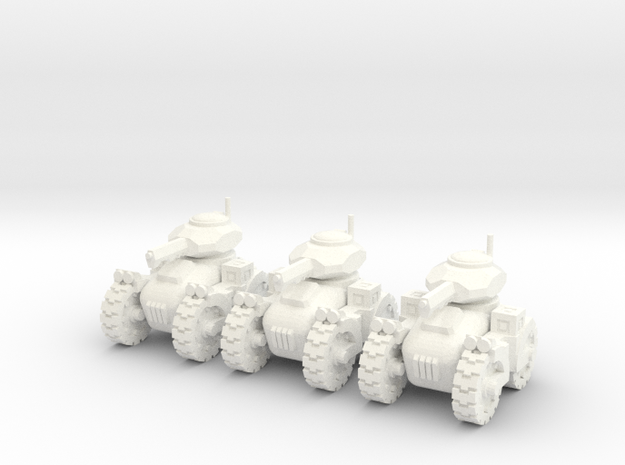 6mm - All terrain Railgun Tank in White Processed Versatile Plastic