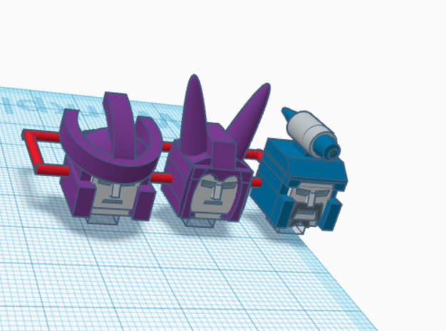 Heads for Galvatron,Scourge,Cyclonus Kreons (2/2) in Smooth Fine Detail Plastic