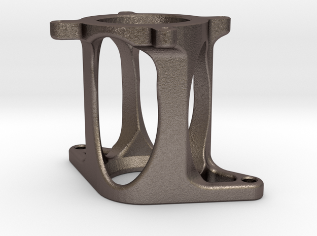 Motor mount: Nema 23 to BF16 X axis in Polished Bronzed-Silver Steel