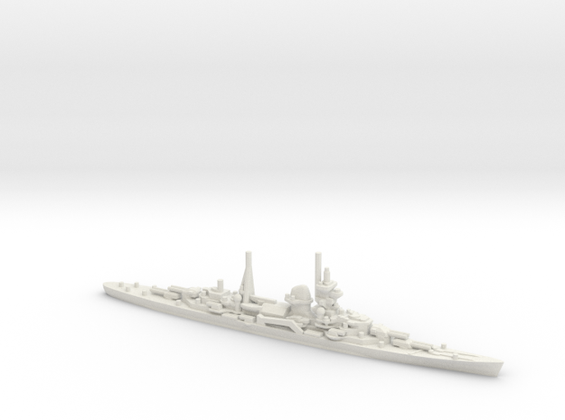 German Admiral Hipper-class Cruiser in White Natural Versatile Plastic