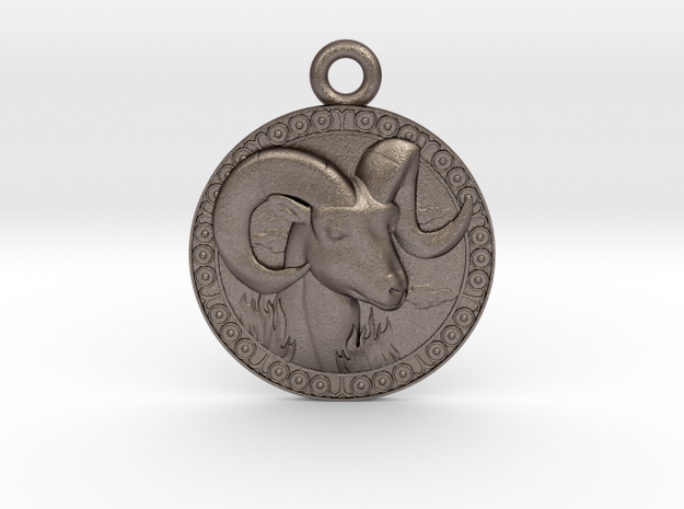 Aries-Zodiac-Medaillon in Polished Bronzed-Silver Steel