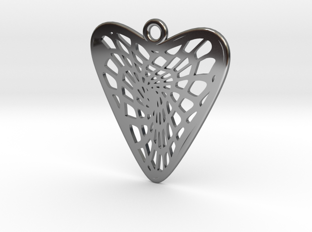 Voronoi Heart Earring (001b) in Fine Detail Polished Silver