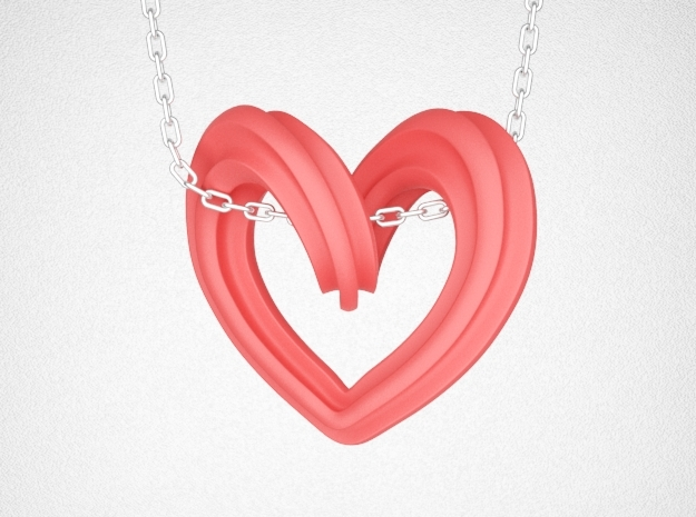 Heart Pendant Type A in Red Processed Versatile Plastic: Small