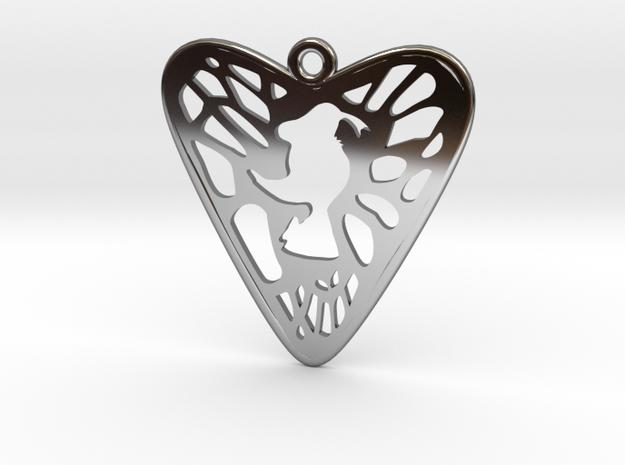 Voronoi Heart+Cartoon Earring (001) in Fine Detail Polished Silver