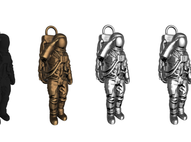 Metal or Plastic Saluting Neil or Buzz Key Fob in Polished Nickel Steel
