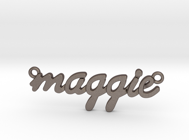 Name Pendant - Maggie in Polished Bronzed-Silver Steel