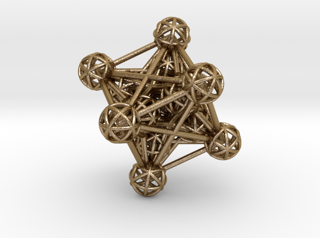 3D Metatron's Cube in Polished Gold Steel