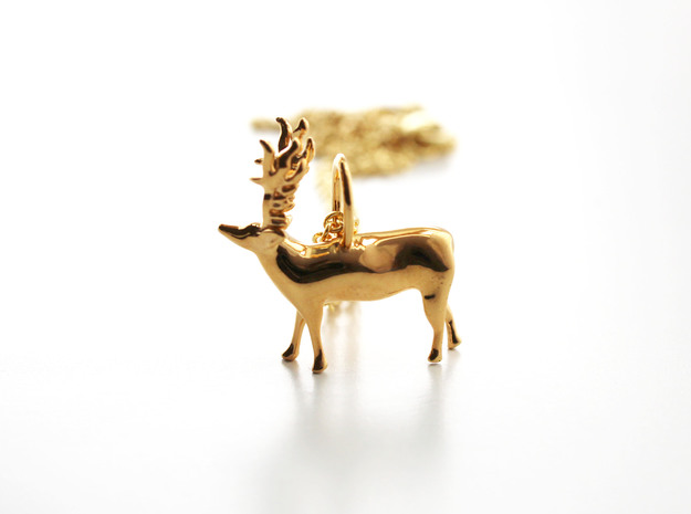Paleolithic Reindeer Pendant - Archaeology Jewelry in 14k Gold Plated Brass