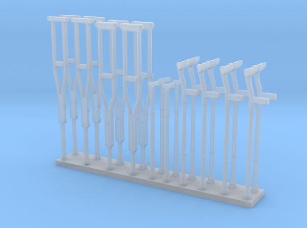 Crutches 01.  1:32 Scale in Smooth Fine Detail Plastic