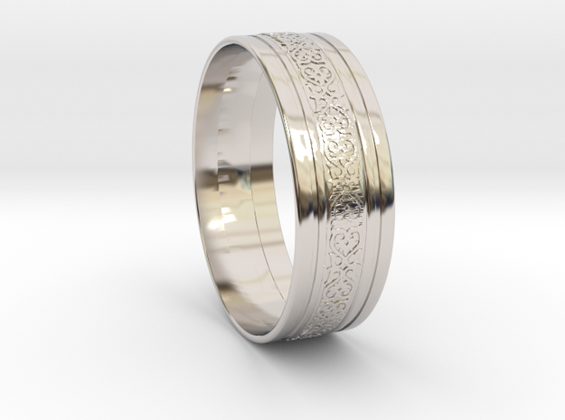 Wedding Gold Ring KTWR01 in Rhodium Plated Brass