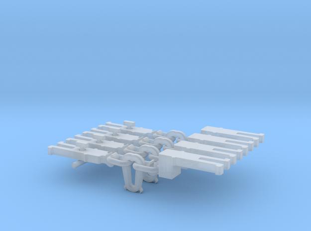 NEM OO Type 5 Couplings - Adaptor 3 Link x4 in Smooth Fine Detail Plastic