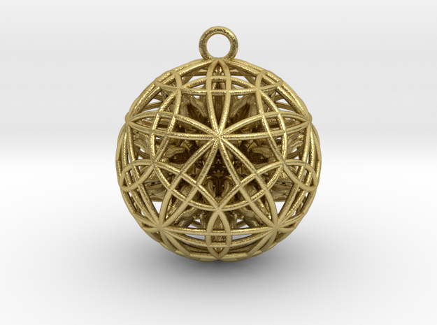 Power Ball Pendant - Precious Metals in Natural Brass