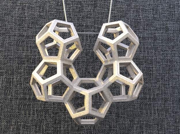 Dodecahedron Pendant Type B in White Natural Versatile Plastic: Medium