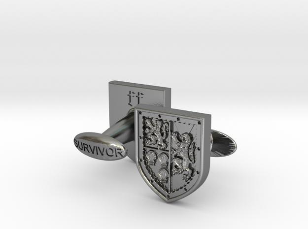 Heraldic Cufflinks (Stewart-Melville) 2 in Polished Silver