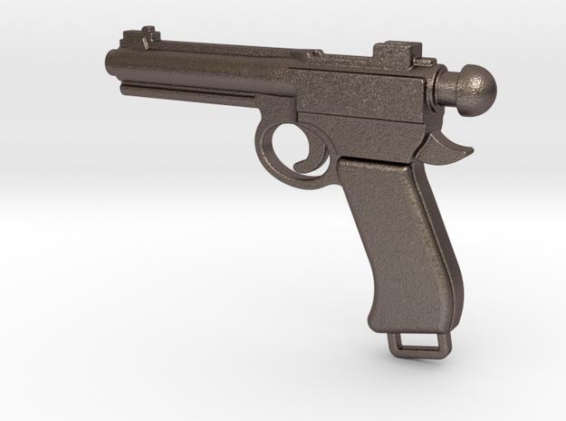 Gun bottle opener 3 in Polished Bronzed Silver Steel