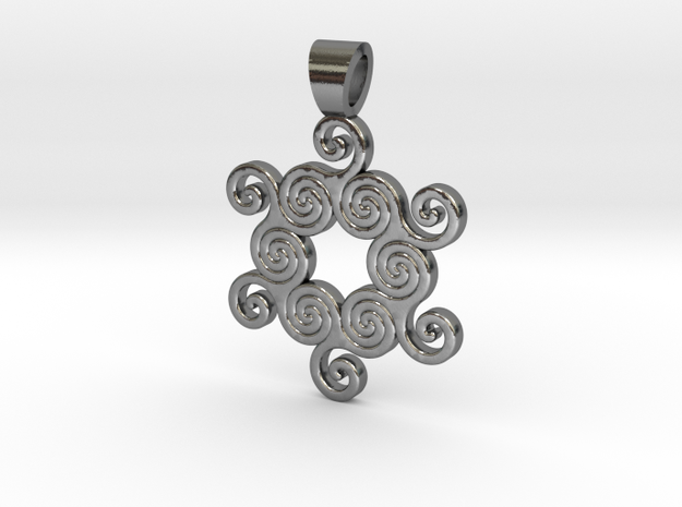 Six united triskell [pendant] in Polished Silver