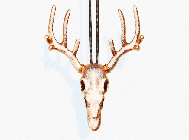 Deer Skull Bottle Opener Pendant in Polished Bronze Steel: Small